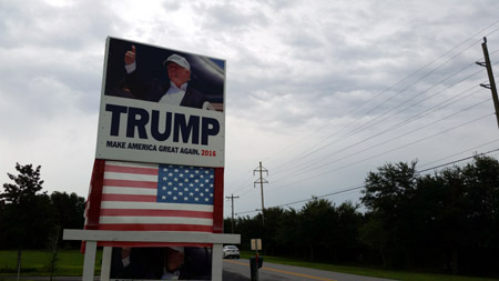Campaign sign along country road in Lake County, Florida, where Donald Trump got 60% of the vote.